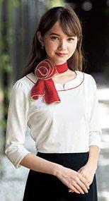 01086 en joie(アンジョア) 襟元の赤パイピングが引き締め効果のある七分袖カットソー 93-01086