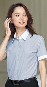 06096 en joie(アンジョア) 細かいストライプにおしゃれクレリック半袖シャツ 93-06096