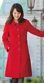 9000 en joie(アンジョア) 上質な紡毛糸で暖かく肌さわりのよいロング丈コート 無地 93-9000