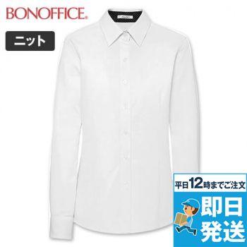 BONMAX RB4158 [通年]リサール 光沢が美しくシャツ感のニット素材 長袖ブラウス 36-RB4158