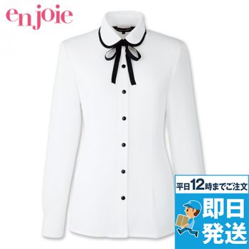 en joie(アンジョア) 01072 丸襟とリボンがカワイイ華やか長袖ブラウス(リボン付き) 93-01072