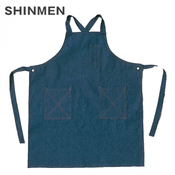 008 シンメン 胸当てデニムエプロン(ボタン付) タスキ式