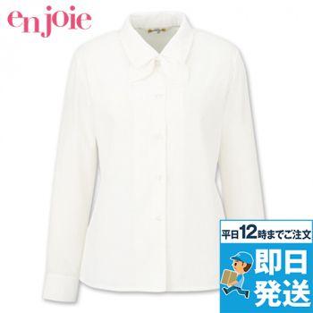 en joie(アンジョア) 01060 [通年]光沢のストライプがシャープで華やかな長袖ブラウス(リボン付) 93-01060