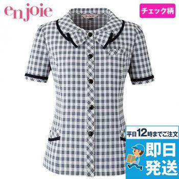 en joie(アンジョア) 26350 リボンモチーフの襟が大人かわいいチェック柄のオーバーブラウス