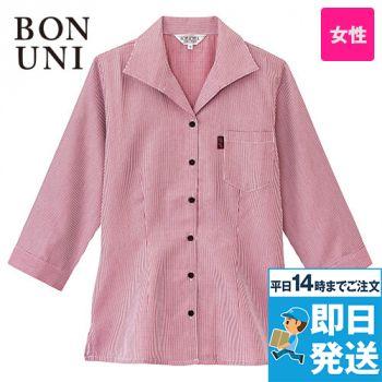 34202 BONUNI(ボストン商会) イタリアンカラーシャツ/七分袖(女性用) チェック
