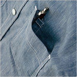 左胸 ペンなどが出し入れしやすい便利なペン差し付きポケット