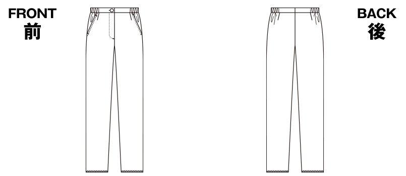 6006EW FOLK(フォーク) レディスストレートパンツ 脇ゴム 股下フリーのハンガーイラスト・線画