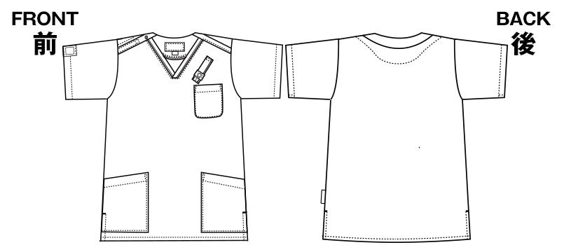 7003SC FOLK(フォーク) パントン スクラブ(男女兼用)のハンガーイラスト・線画