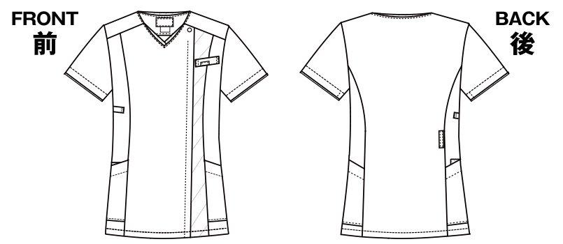 7023SC FOLK(フォーク) レディス ジップスクラブのハンガーイラスト・線画