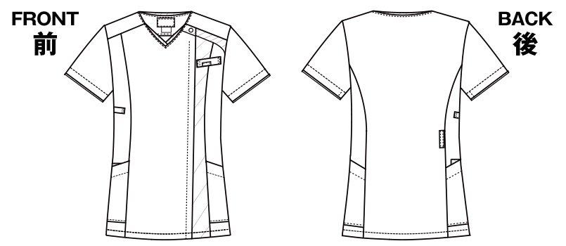 7052SC FOLK(フォーク) レディス ジップスクラブのハンガーイラスト・線画