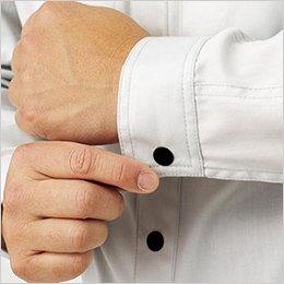 前立てやカフスには、着脱しやすいドットボタン使用