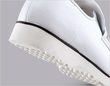 靴底に軽量のEVA素材を使用し両足でも360gの超軽量厨房シューズです。