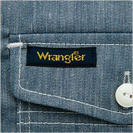AZ64435 Wrangler(ラングラー) 長袖シャツ(男女兼用)  ポケット部の補強とアクセント兼ねた配色カン止め