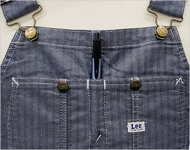LCK79001 Lee オーバーオールエプロン(男女兼用) ペンやドライバーをさせるポケット(深さ 約6cm)
