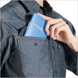 バートル 1515 ヘリンボーン&T/Cライトチノ長袖シャツ(男女兼用) 野帳ダブル収納ポケット
