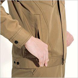 バートル 6082 [春夏用]制電T/Cライトチノ半袖ジャケット(JIS T8118適合)(男女兼用) 逆玉ポケット
