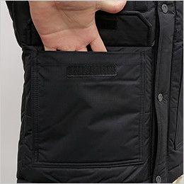 バートル 7510 リップクロス防寒ジャケット(大型フード付)(男女兼用) 物が落ちにくいフラップ付ポケット