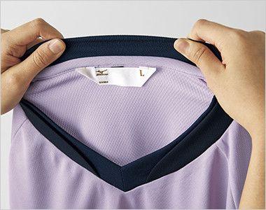MZ-0198 ミズノ(mizuno) 入浴介助用ニットシャツ(男女兼用) 耐久性の高い首元の異素材リブ