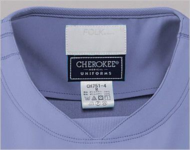 [在庫限り]CH751 FOLK(フォーク)×CHEROKEE(チェロキー) レディーススクラブ(女性用) リブ付きのラウンドネック