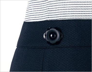 en joie(アンジョア) 66410 ボーダー×ネイビーが清楚な七分袖ワンピース(女性用) 花びらのようなかわいいボタン