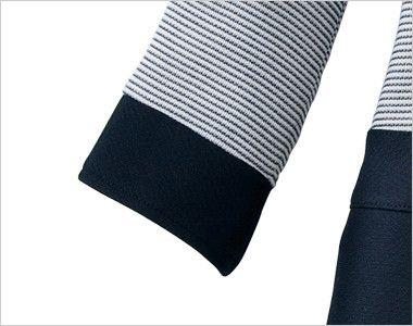 en joie(アンジョア) 66410 ボーダー×ネイビーが清楚な七分袖ワンピース(女性用) ネイビーで切り替えたデザイン
