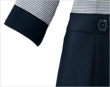 en joie(アンジョア) 66410 ボーダー×ネイビーが清楚な七分袖ワンピース(女性用) スマホなどが収納できるポケット