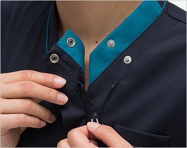 RF5122 ナガイレーベン(nagaileben) スクラブ(女性用) 襟の内側はボタンとファスナー