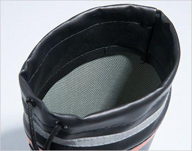 ジーベック 85719 セフティ長靴 スチール先芯 ライニング材には吸汗ドライ生地を使用し、ムレを軽減