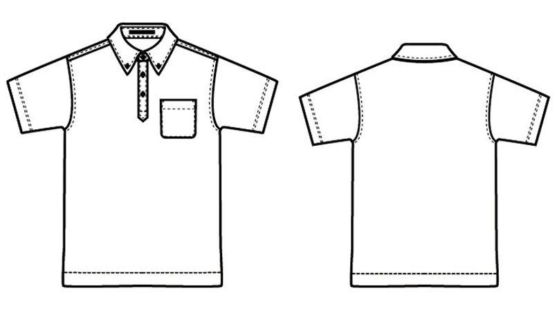 AZ10599 アイトス ボタンダウンポロシャツ ドライ ハンガーイラスト・線画