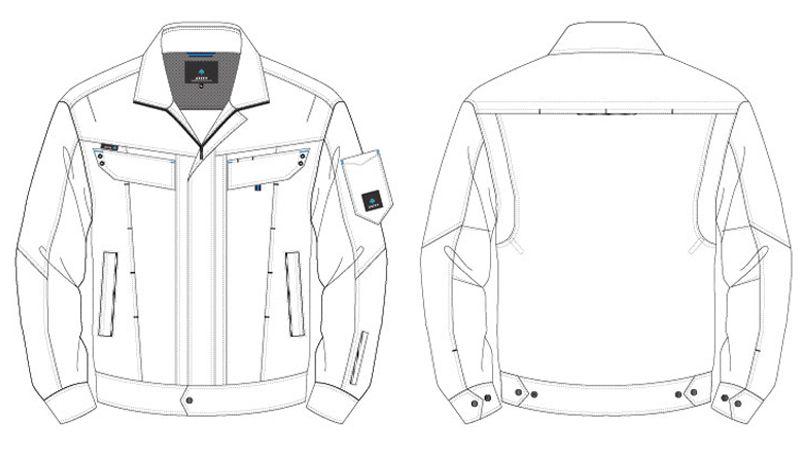 AZ30530 アイトス ペンタスストレッチ 長袖ブルゾン(男女兼用) ハンガーイラスト・線画