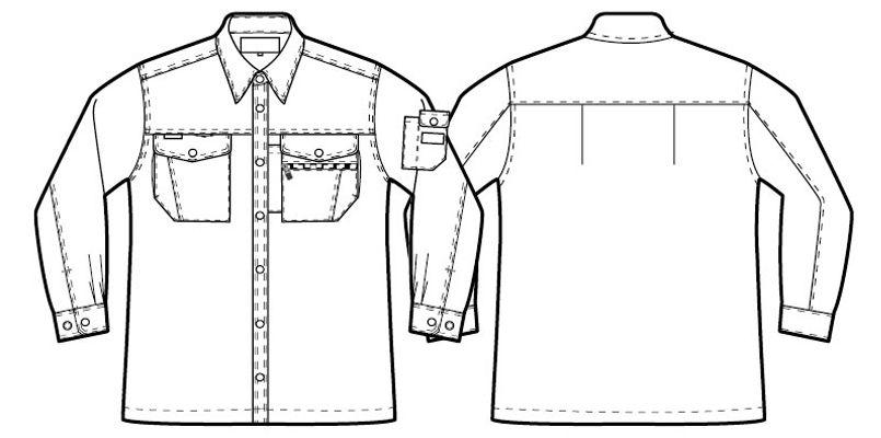AZ3235 アイトススタンダード 帯電防止ライトツイルシャツ/長袖 ハンガーイラスト・線画