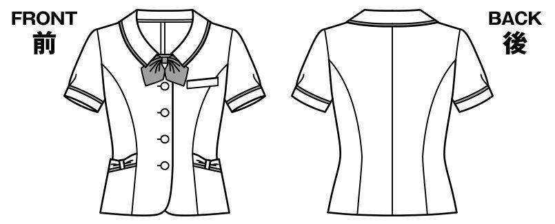 AJ0834 BONMAX/メロディー オーバーブラウス(リボン付き) ストライプ ハンガーイラスト・線画