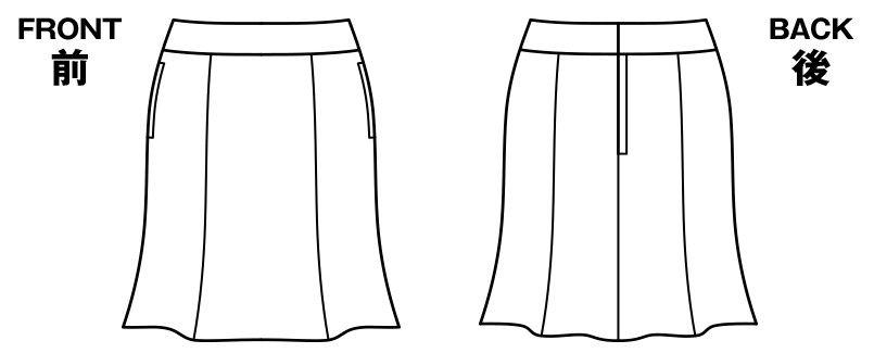 BONMAX AS2267 [通年]セゾン 消臭加工剤が不快なニオイを消臭するマーメイドスカート 無地 ハンガーイラスト・線画