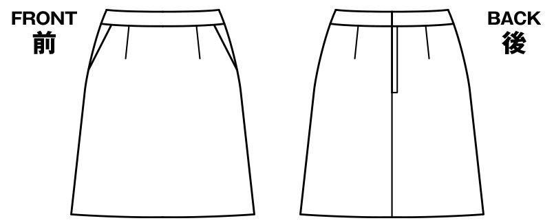 BONMAX AS2280 [通年]インプレス Aラインスカート 無地 ハンガーイラスト・線画