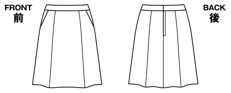 AS2281 BONMAX/インプレス フレアースカート 無地 ハンガーイラスト・線画