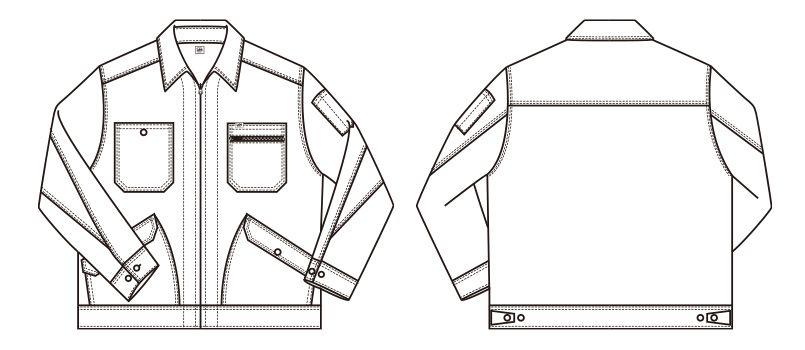 LWB06001 Lee ジップアップジャケット(男性用) ハンガーイラスト・線画