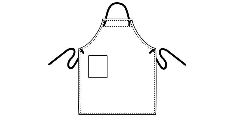 MK7002 FACEMIX キャンバスエプロン胸当てロープ(男女兼用) ハンガーイラスト・線画