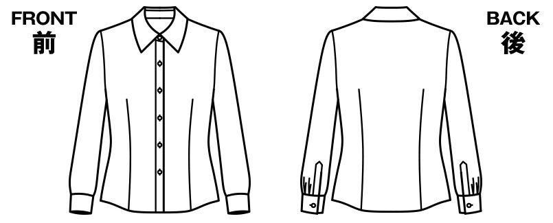 RB4136 BONMAX/リサール 形態安定で上質な肌触りのシンプルな長袖ブラウス ハンガーイラスト・線画