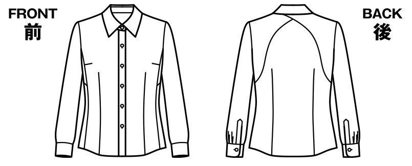 BONMAX RB4157 [通年]リサール もっと!すごいブラウス 着用時のストレスを軽減する長袖ブラウス ハンガーイラスト・線画