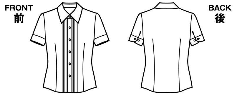 BONMAX RB4535 [通年]リサール 知的な雰囲気を醸し出す胸元のピンタック 半袖ブラウス ハンガーイラスト・線画