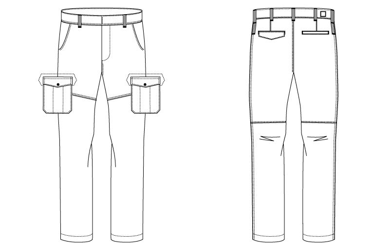 バートル 1512 [春夏用]ヘリンボーン&T/Cライトチノカーゴパンツ(男女兼用) ハンガーイラスト・線画