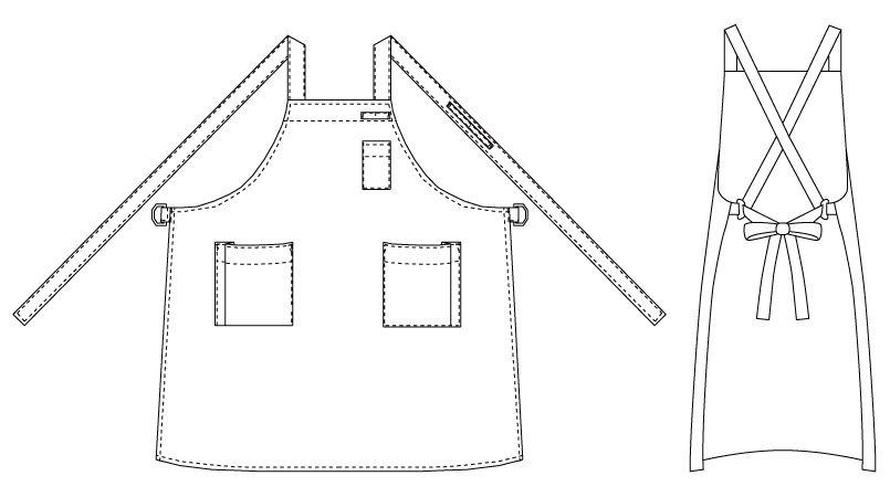 T-7500 チトセ(アルベ) 胸当てエプロン(男女兼用) ハンガーイラスト・線画