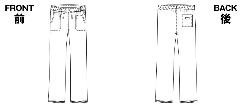 5019SC FOLK(フォーク)×Dickies ストレートパンツ(男女兼用) ハンガーイラスト・線画