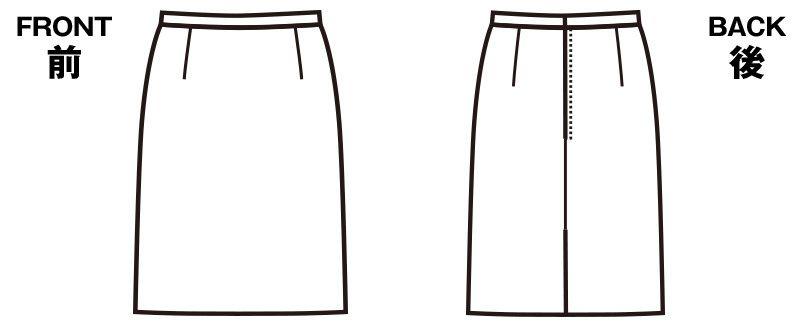 FS4568 nuovo(ヌーヴォ) [通年]セミタイトスカート 無地 ハンガーイラスト・線画