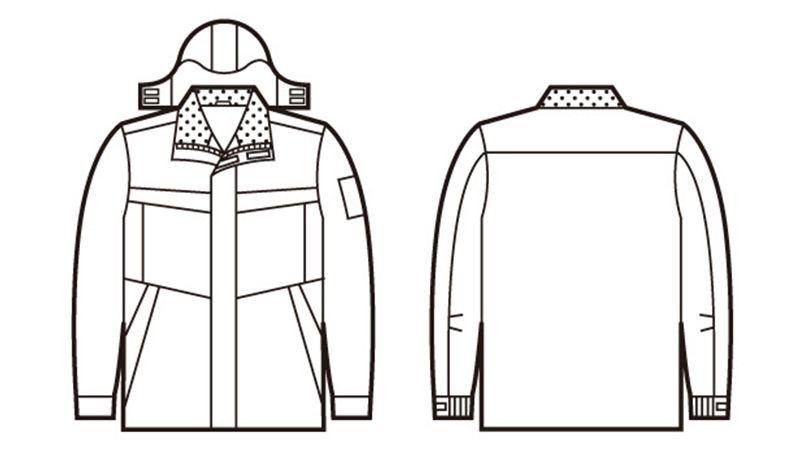48443 自重堂 超耐久撥水 裏アルミ防寒コート(フード付・取り外し可能) ハンガーイラスト・線画