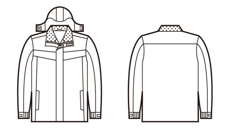 48463 自重堂 防水防寒ハーフコート(フード付き・取り外し可能) ハンガーイラスト・線画