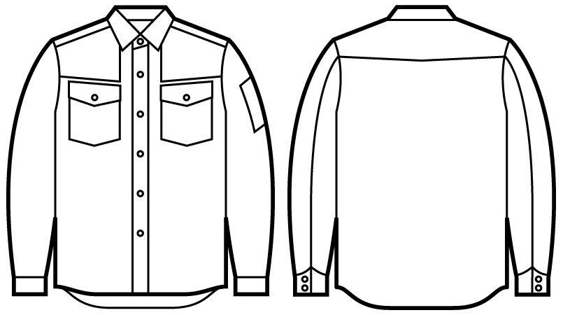 51004 自重堂JAWIN 長袖シャツ(年間定番生地使用) ハンガーイラスト・線画