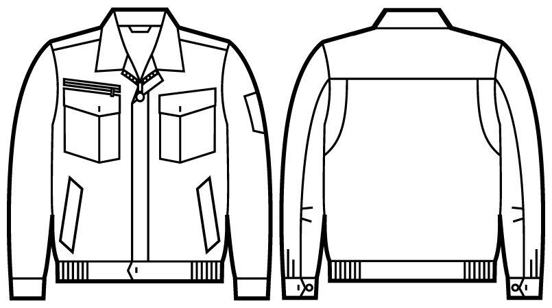 自重堂 51200 [秋冬用]JAWIN 長袖ブルゾン ハンガーイラスト・線画