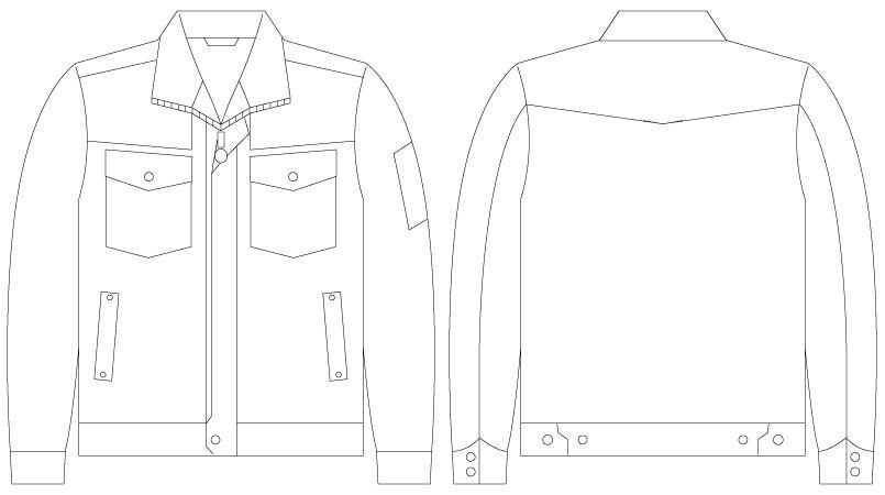 55000 自重堂JAWIN [春夏用]長袖ジャンパー(綿100%) ハンガーイラスト・線画