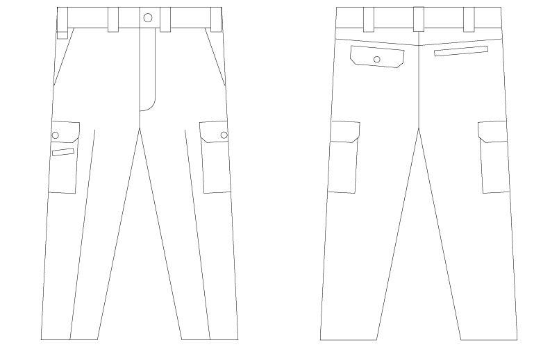 55002 自重堂JAWIN [春夏用]ノータックカーゴパンツ(綿100%) ハンガーイラスト・線画
